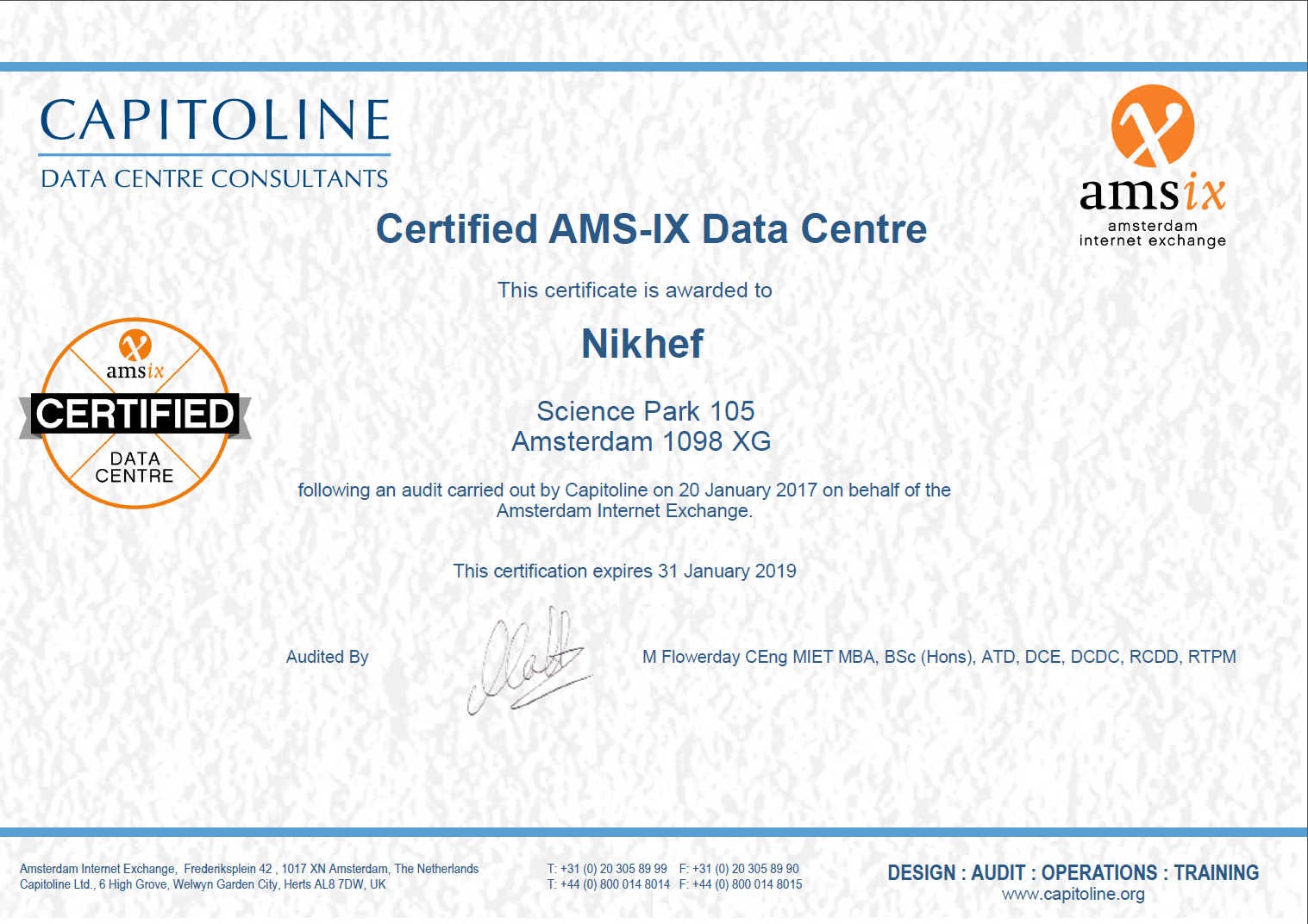 Ams Ix Certified Nikhef Housing
